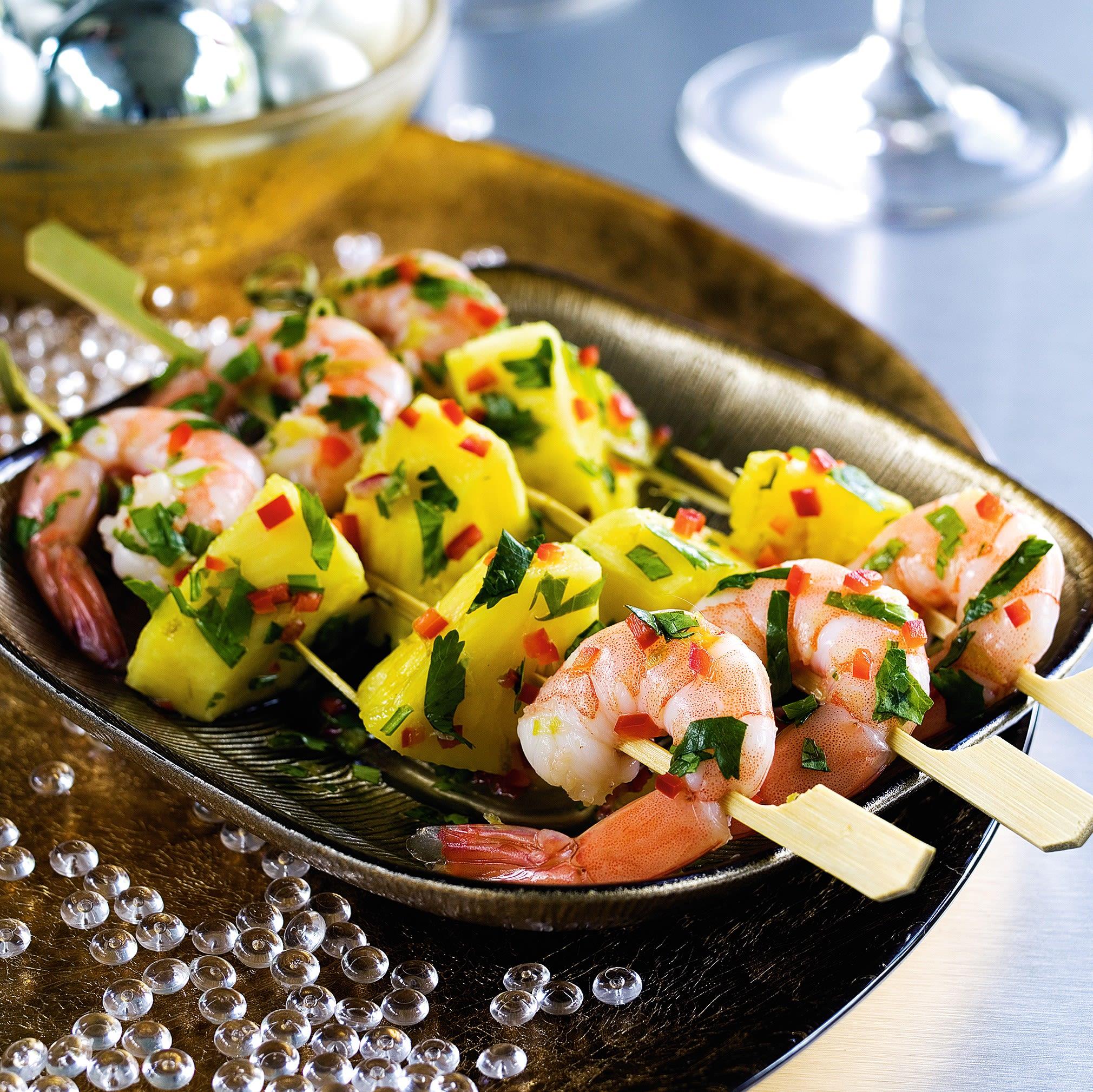Photo de/du Brochettes de crevettes et ananas par WW