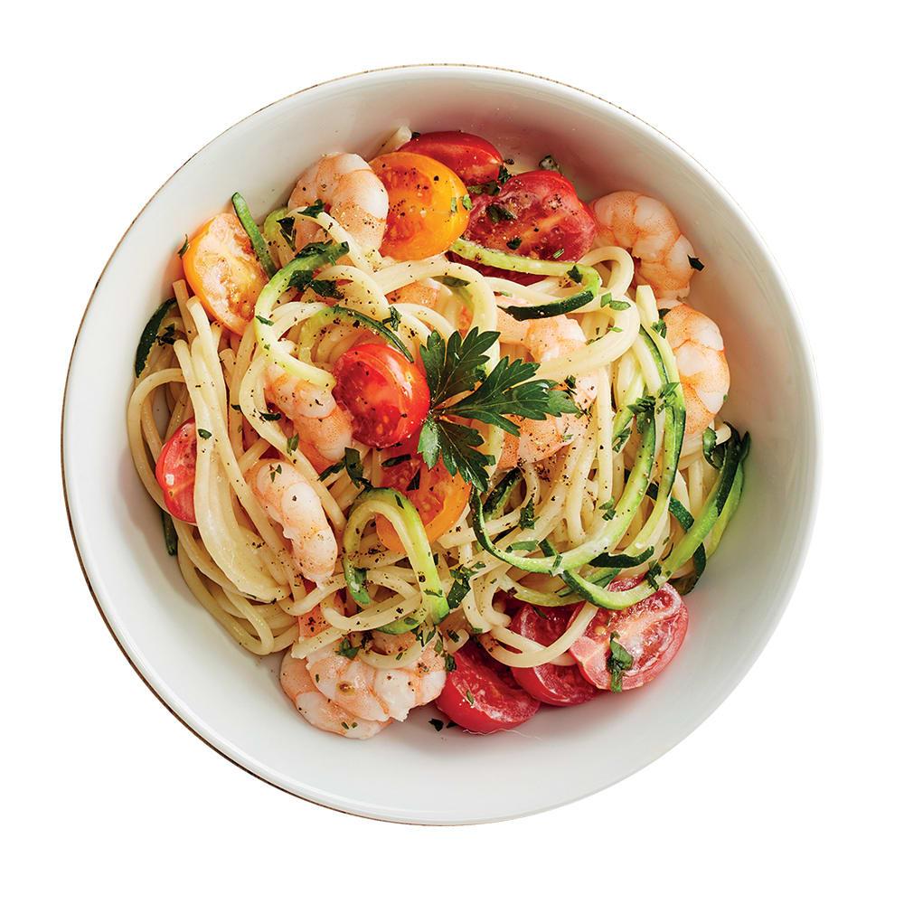 Photo de/du Spaghettis de courgettes, tomates et crevettes par WW
