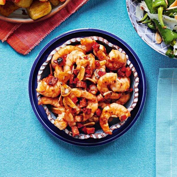 Photo de/du Crevettes à l'ail, piment et dés de chorizo par WW