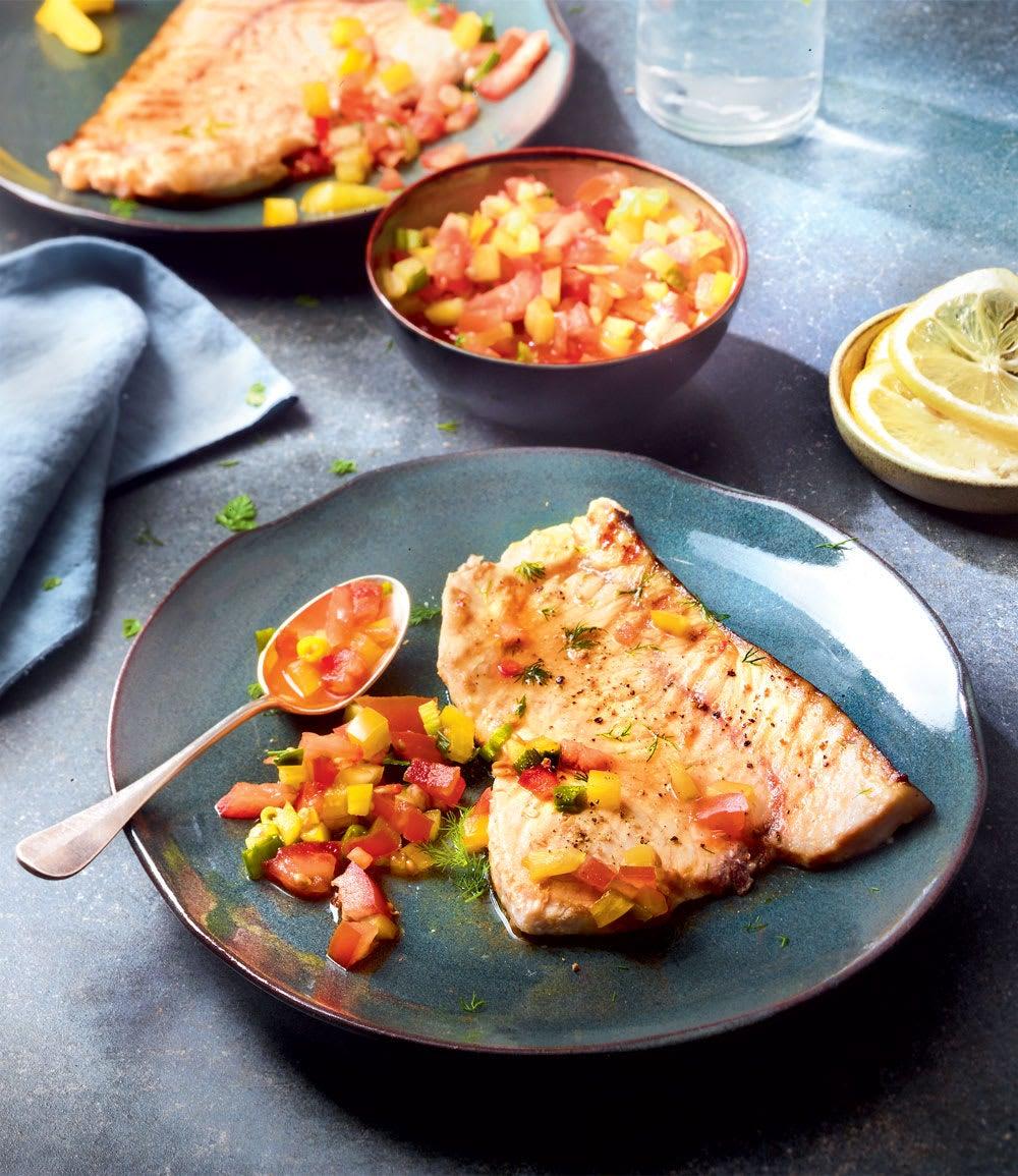 Photo de/du Espadon grillé, salsa tomates poivron par WW