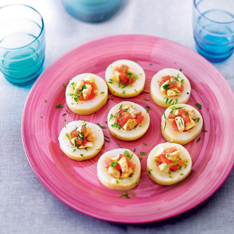 Photo de/du Tartelettes de pommes de terre, tomates et poulet au curry par WW