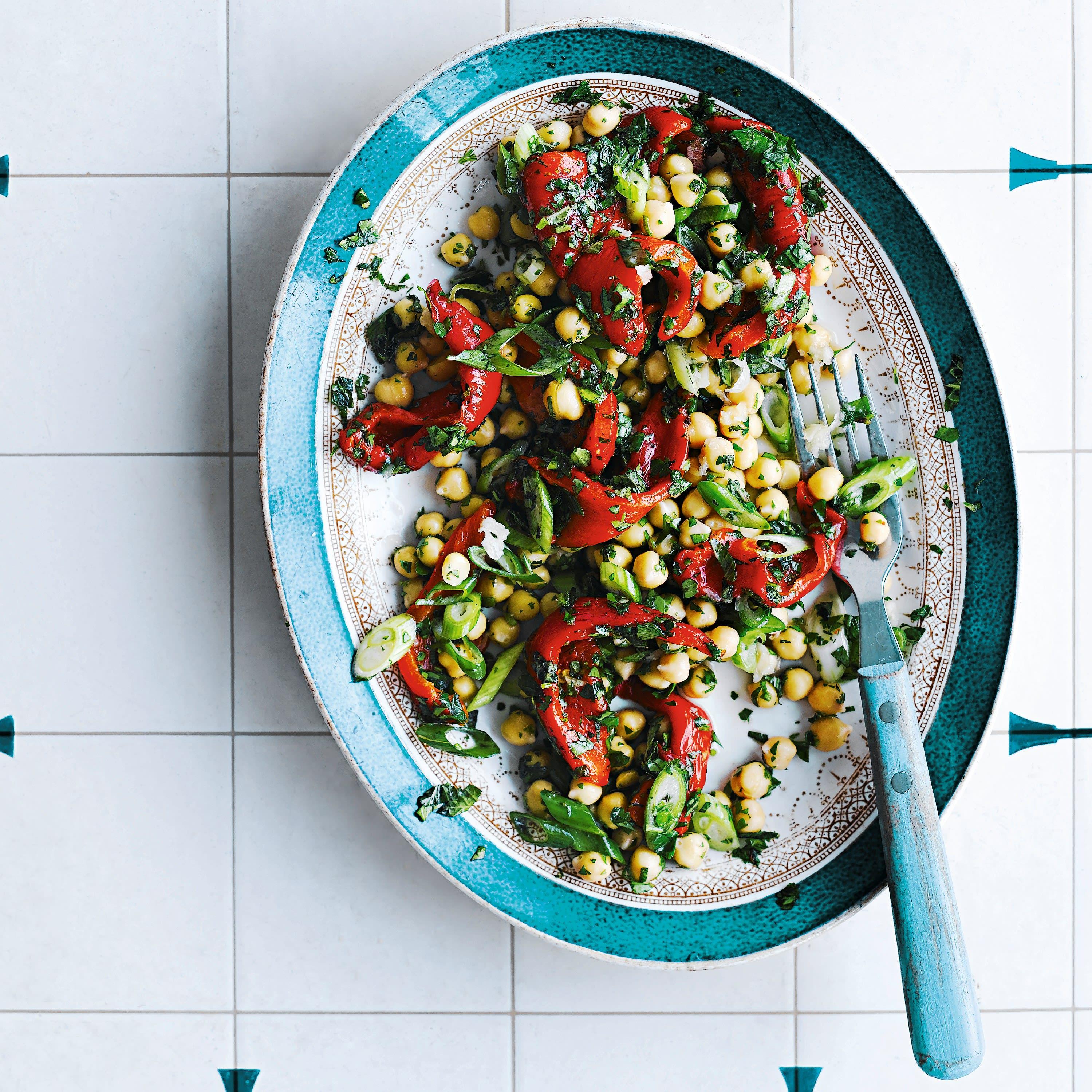 Photo de/du Salade aux pois chiches et aux poivrons rouges grillés par WW