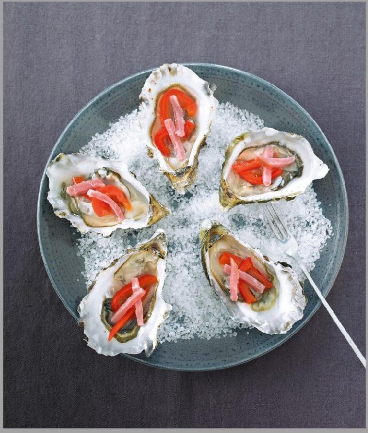 Photo de/du Huîtres au poivron confit et allumettes de bacon par WW