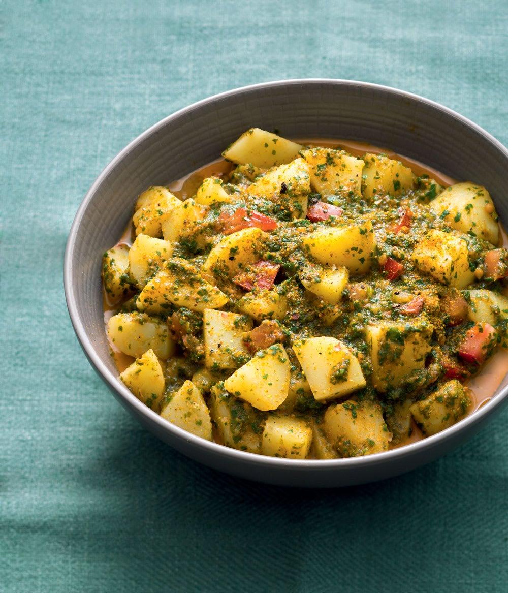 Photo de/du Curry de pommes de terre aux épinards par WW