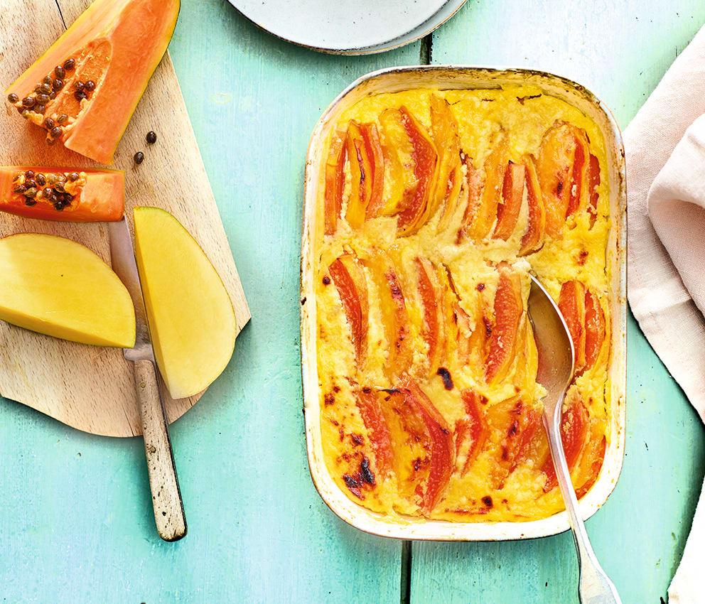 Photo de/du Gratin de mangue et de papaye au vieux rhum par WW