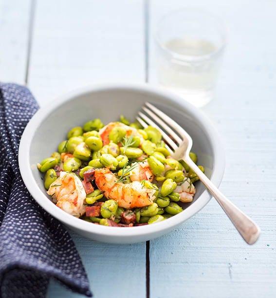 Photo de/du Salade de fève aux gambas par WW