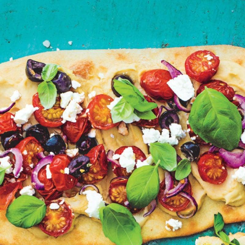 Photo de/du Pain plat végétarien avec feta, tomates et olives par WW