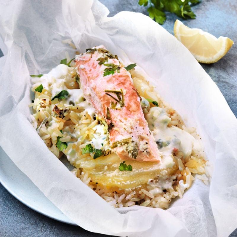 Photo de/du Papillotes saumon, riz poires et roquefort d'Elodie par WW