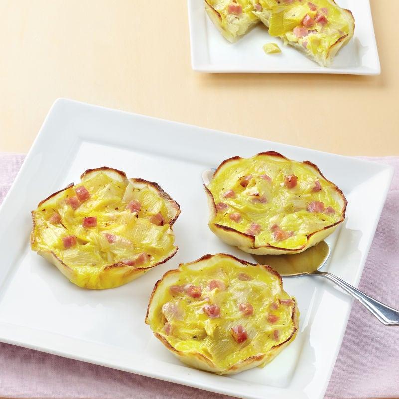 Photo de/du Petites quiches aux pommes de terre au aux poireaux primeur par WW