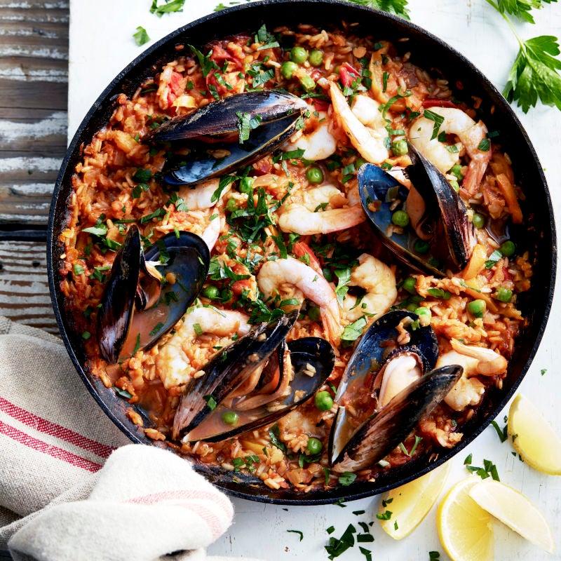 Photo de/du Paella de riz complet, aux fruits de mer et lentilles par WW