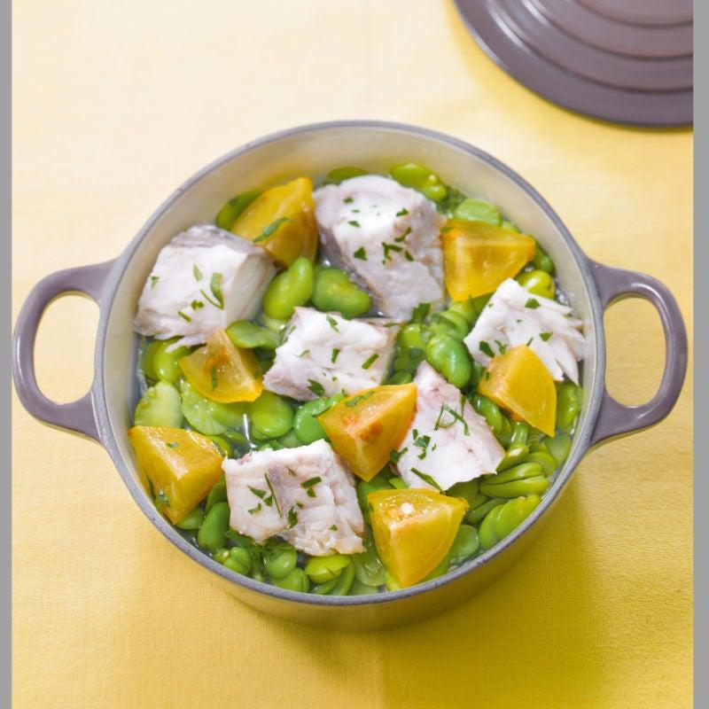 Photo de/du Cocotte de lotte aux fèves et au citron confit par WW