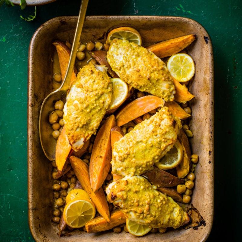 Photo de/du Poulet au curry et patates douces au four par WW