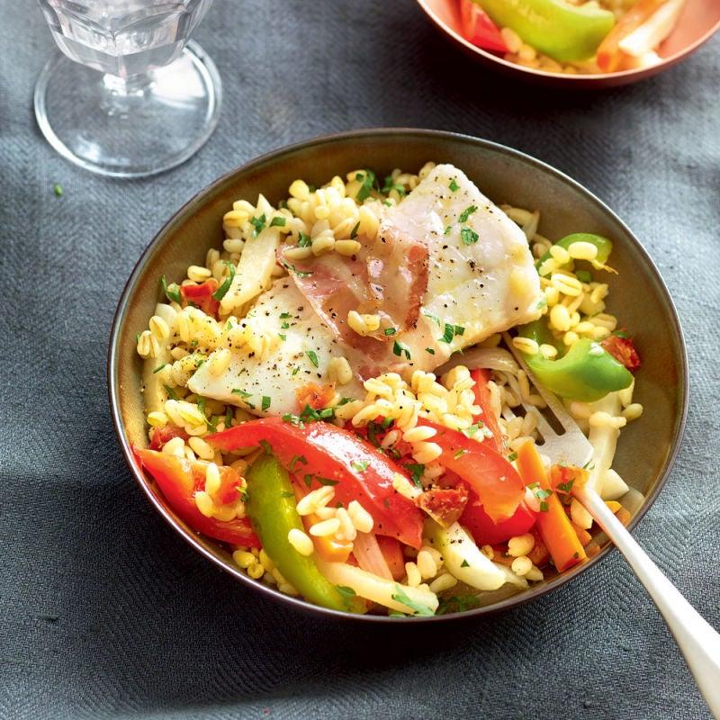 Photo de/du Couscous de blé et cabillaud et à la pancetta par WW